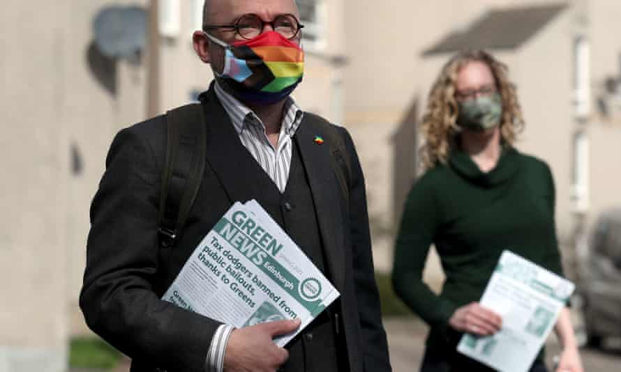 Patrick Harvie and Lorna Slater on the local election campaign trail in Edinburgh on 4 May.