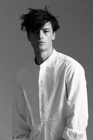Menswear by Australian clothing brand Song For The Mute. Pictured is an example of their deconstructed shirts.