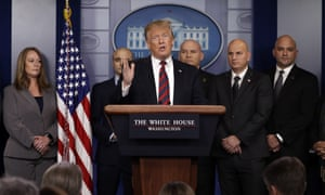 Donald Trump speaks in the press briefing room at the White House on Thursday.