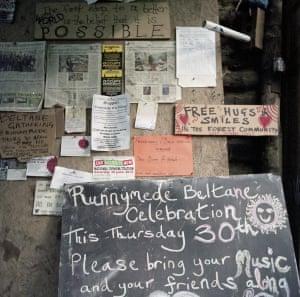 Noticeboard advertising the Beltane celebration