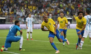 Miranda celebrates his late winner in the friendly between Brazil and Argentina at the King Abdullah Sport City Stadium in Jeddah, Saudi Arabia.