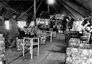 Inside one of the Heathrow terminal tents in 1946