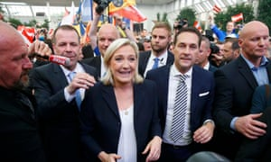 Marine Le Pen and Austrian far-right leader Heinz-Christian Strache arrive at the Patriotic Spring meeting in Vienna.