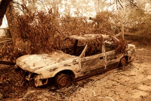 A burnt-out car in Sarsfield, Victoria