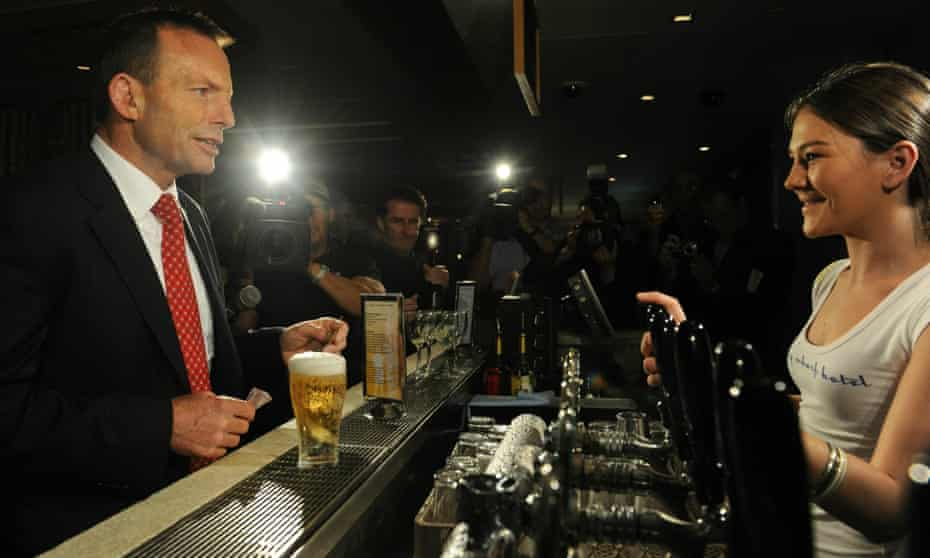 Tony Abbott has a beer at the Manly Wharf Hotel, during the 2010 election campaign.
