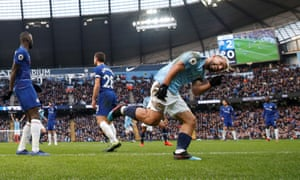 The Chelsea defence are bemused after Ross Barkley's header set up the celebrating Sergio Agüero to score his second and Manchester City's third