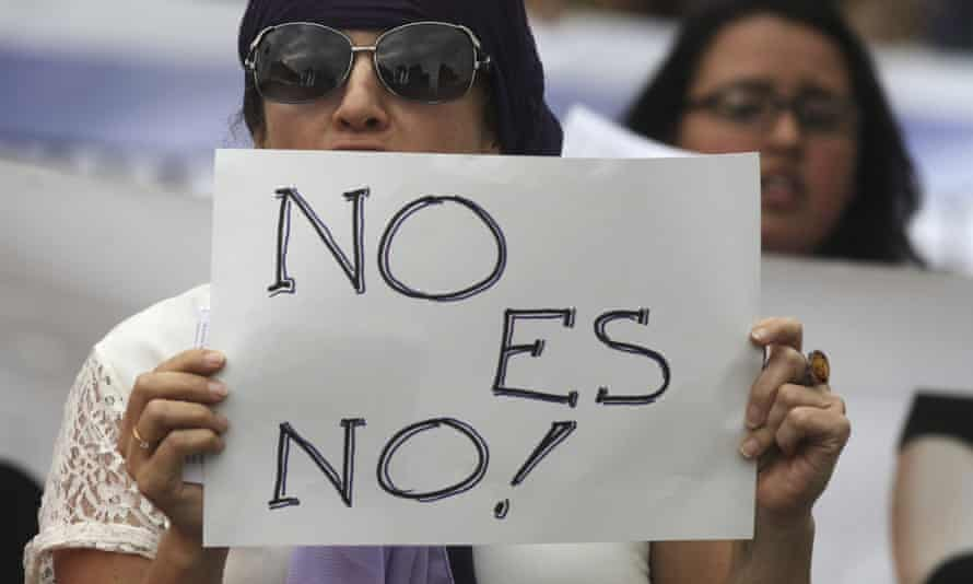 Women protest against discrimination and sexual violence on International Women's Day in Bogota earlier this month.