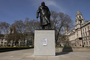 A get well soon message for the prime minister attached to the statue of Churchill in Parliament Square.