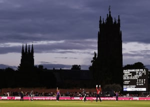Maddy Green dismisses Natalie Sciver against the backdrop of Taunton's St James church.