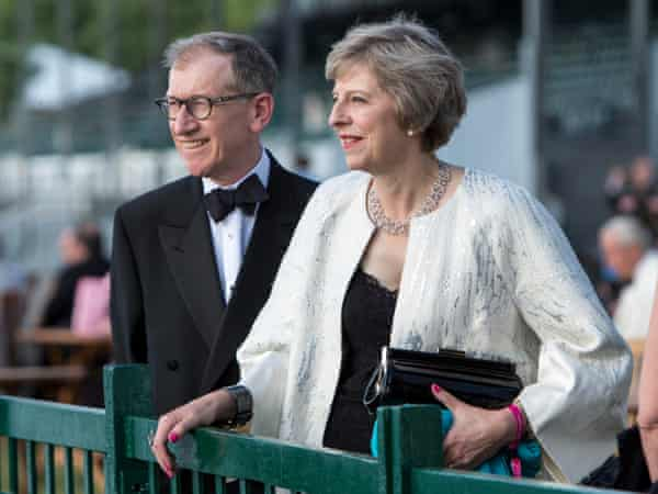 Theresa May seen with her usband Philip John May at the Henley Festival over the weekend.