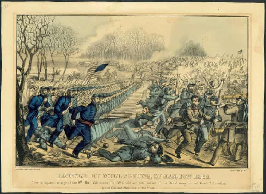 A bayonet charge during the Battle of Mill Springs.