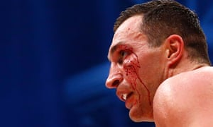 Wladimir Klitschko bleeds from a cut to the face.