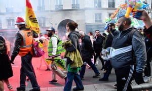 Protesters march in Paris, France