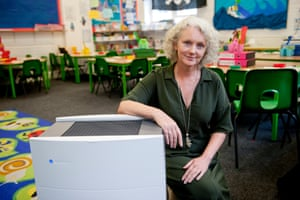 Gwen Lee, headteacher at Christopher Hatton School in Holborn sits next to one of the Blueair purifiers.
