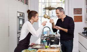 Chef Yotam Ottolenghi with his recipe tester, Claudine Boulstridge, in his house in London