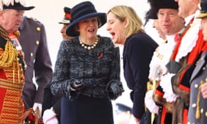 Theresa May and Amber Rudd before the ceremonial welcome for Colombia's president Juan Manuel Santos in London on 1 November.