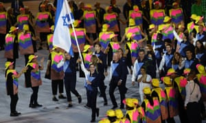 Neta Rivkin of Israel carries the flag during the Opening Ceremony of the Rio Olympic Games at Maracanã stadium on Friday.