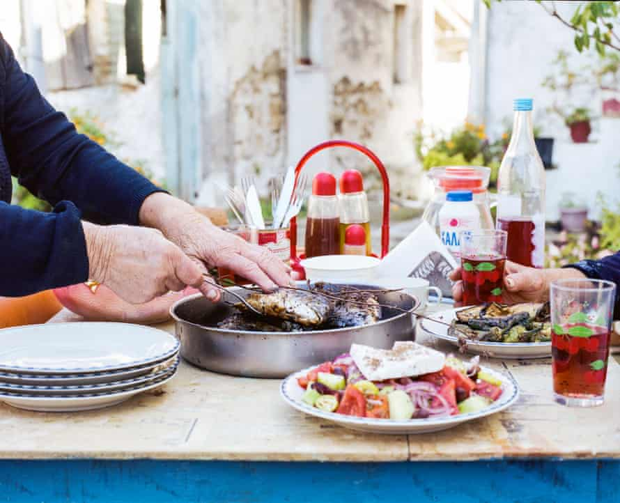 Yiayia's table, with sea bream, salad and wine