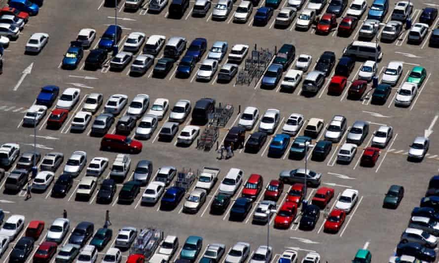 aerial shot of car park full of cars