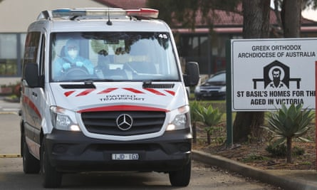 An ambulance leaves an aged care home in Melbourne