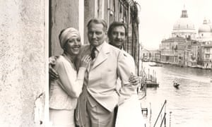 Stéphane Audran, Laurence Olivier and Derek Granger in Venice, shooting scenes from Granada's 1981 TV version of Brideshead Revisited