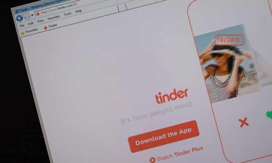 Tinder website on Internet Explorer