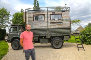 Unexpected category, Tom Duckworth (Hampshire) with The Lorry Life Tom converted a 1982 Bedford ex-army lorry for his creation and turned it into a mini-home on wheels. It has a pulley system bed and is decorated with newspaper cuttings dating back to 1963. It is clad with pallets stained dark brown