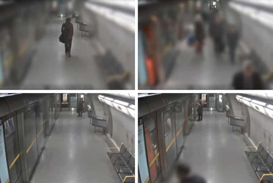 CCTV stills of Damon Smith at Southwark station