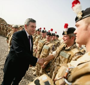'The inquiry is essential, its scope is unprecedented' then prime minister Gordon Brown meets the troops in Basra in 2007. Photograph: Daniel Berehulak/Getty Images
