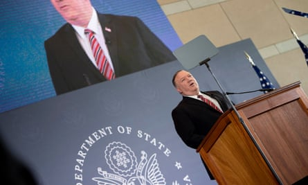 Mike Pompeo speaks at the National Constitution Center about the Commission on Unalienable Rights, in Philadelphia on Thursday.