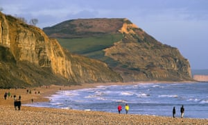 Golden Cap cliff pictured from Charmouth beach.