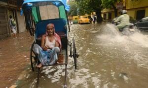 Monsoon-flooded streets in Kolkata, West Bengal.
