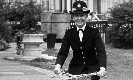 Anna Carteret, the star of the BBC TV police series Juliet Bravo, on a bicycle, in London.