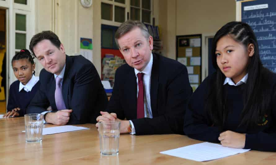 The then deputy prime minister Nick Clegg and education secretary Michael Gove meet pupils at Durand Academy Primary School in 2010