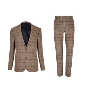 Tan check blazer and trousers from River Island