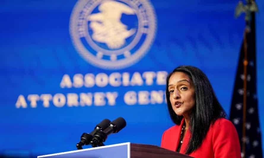 Vanita Gupta in Wilmington, Delaware, on 7 January.