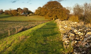 The Roman Wall looking towards St Mary the Virgin Church in Silchester