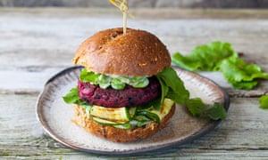 Vegetarian beetroot and black beans burger