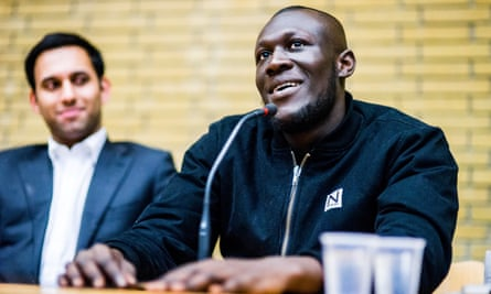 Stormzy talks to Oxford University students during a Q&A session this week.