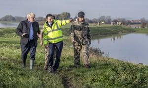 Boris Johnson visiting flood-hit South Yorkshire last week.