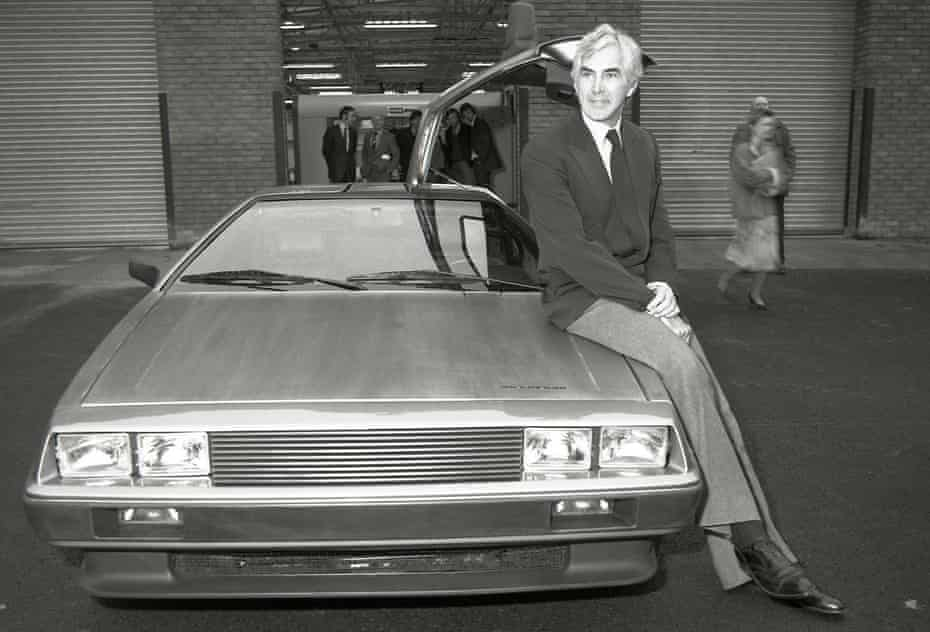 John DeLorean with the car he persuaded the British government to finance in the 1970s