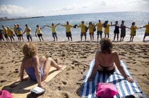 Activists protest against mass tourism in Barcelona.