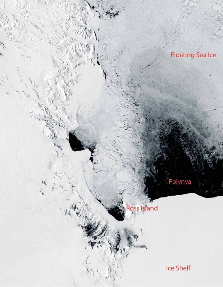 A polynya off the coast of Antarctica, near Ross Island and McMurdo Station on November 16, 2011.