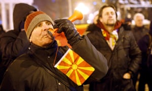 Campaigners against the name change protest in front of the parliament building in Skopje.
