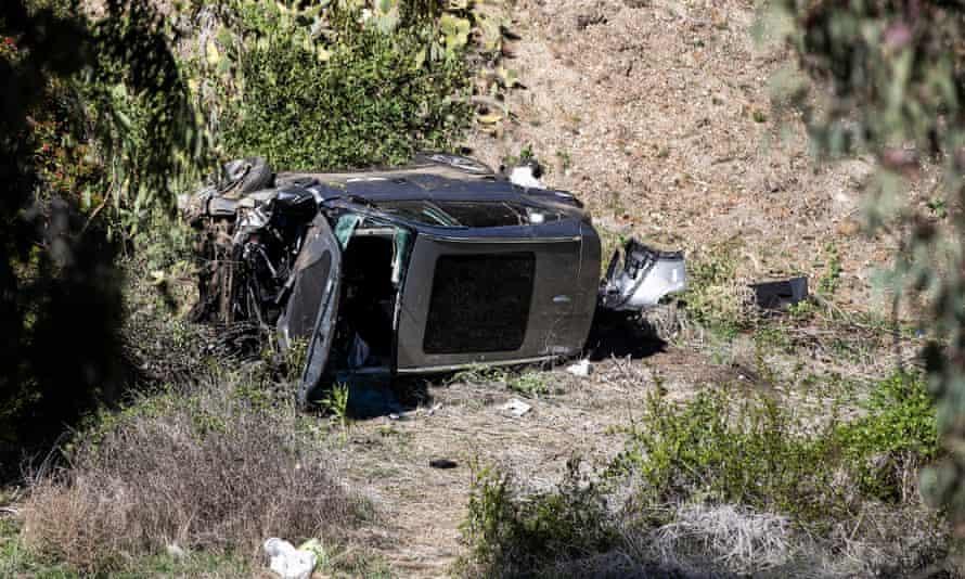 Tiger Woods's badly damaged car after the golfer's crash on Tuesday