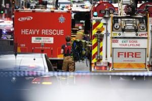 Emergency works are seen on Bourke street in Melbourne's CBD.