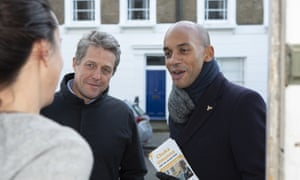 Chuka Umunna on the doorsteps for the Lib Dems with Hugh Grant in December.