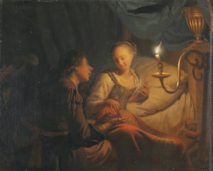 Godfried Schalcken A Candlelight Scene: A Man offering a Gold Chain and Coins to a Girl seated on a Bed Short title: A Man Offering Gold and Coins to a Girl about 1665-70 © The National Gallery, London