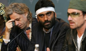 Naidoo, when he was head of the Global Action Forum, gives a press conference in 2005, with Bono and Bob Geldof ahead of the Live 8 event – that coincided with the G8 summit in Gleneagles.