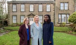 Lucy Mangan with Martha Kearney (Charlotte devotee) and novelist Helen Oyeyemi (Emily champion) outside the Parsonage at Haworth, Yorkshire.
